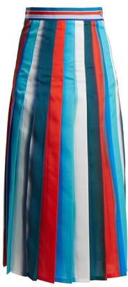 Stella Jean Pleated Striped Crepe Midi Skirt - Womens - Multi