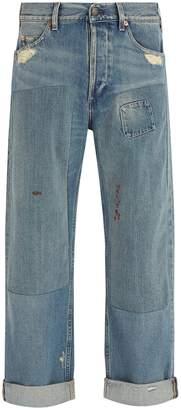 Gucci Distressed wide-leg jeans