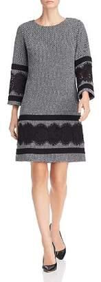 Karl Lagerfeld Paris Lace-Trim Textured Shift Dress
