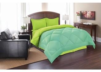 Elegant Comfort Celine Line High Quality 3pc Comforter Set-Full/Queen, Aqua/Lime