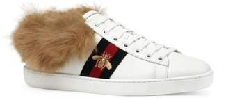 Gucci New Ace Genuine Shearling Lining Sneaker
