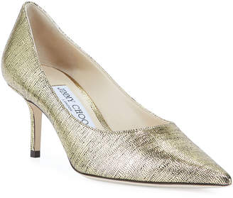Jimmy Choo Love Metallic Leather Low-Heel Pumps