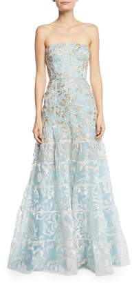 J. Mendel Strapless Floral-Embroidered Overlay Gown