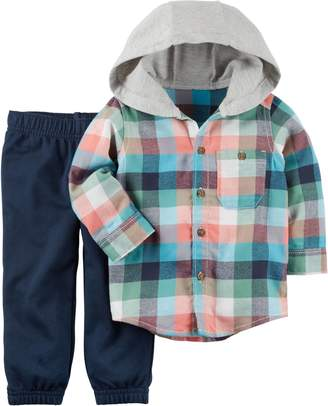 Carter's Toddler Boys Plaid Flannel Hoodie Set