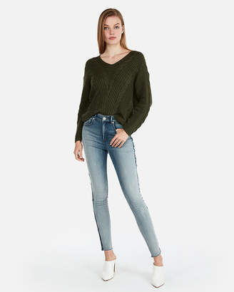 Express Cable Knit Slouch Back Sweater