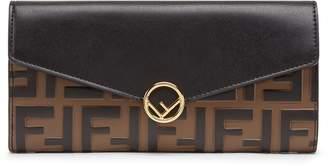 Fendi Logo Calfskin Leather Continental Wallet
