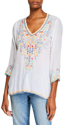Johnny Was Ryleigh V-Neck 3/4-Sleeve Georgette Blouse