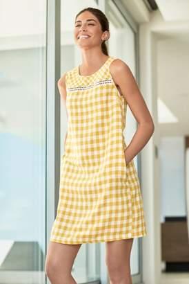644db72b42fb Next Womens Yellow Gingham Linen Blend Shift Dress