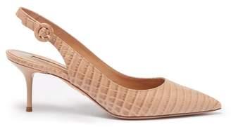 Aquazzura Pure 60 Crocodile Effect Leather Pumps - Womens - Nude