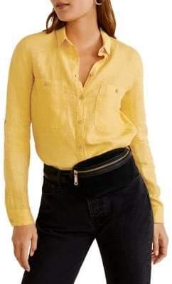 MANGO Linen Pocket Shirt