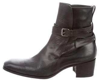 Saint Laurent Leather Wrap-Around Johnny Ankle Boots