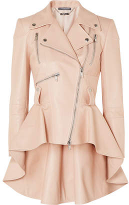 Alexander McQueen Leather Peplum Biker Jacket - Pink