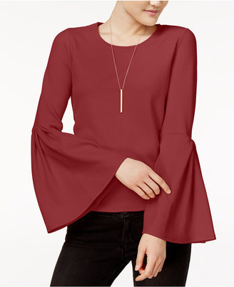 Bar Iii Crepe Bell-Sleeve Top, Only at Macy's $49.50 thestylecure.com