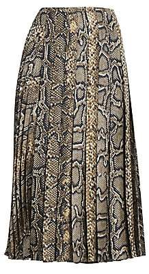Victoria Beckham Women's Snake-Print Silk Pleated Midi Skirt