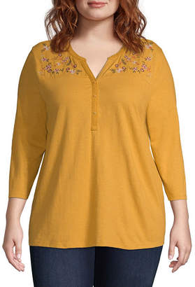 ST. JOHN'S BAY 3/4 Sleeve Embroidered Henley Top - Plus