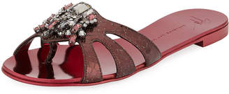 Giuseppe Zanotti Metallic Snake-Print Embellished Flat Slide Sandal