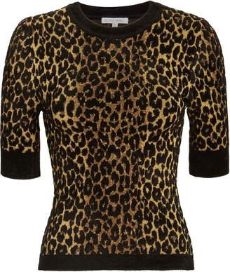 Ronny Kobo Leopard Print Knit Top