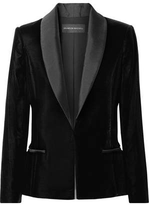 Brandon Maxwell Satin Twill-trimmed Velvet Blazer - Black