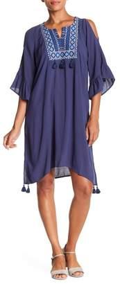 Democracy Cold Shoulder Tassel Dress