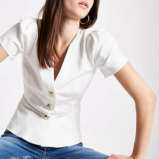 River Island Womens White button front tea top