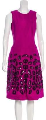 Oscar de la Renta Sleeveless Midi Dress Magenta Sleeveless Midi Dress