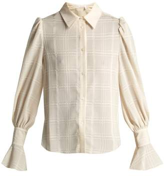 See by Chloe Checked Flared Cuff Shirt - Womens - Cream