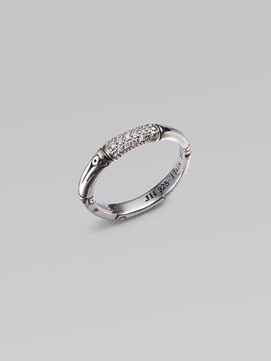 John Hardy Diamond & Sterling Silver Bamboo Ring