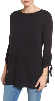 Halogen Ruched Sleeve Tunic Sweater (Petite)