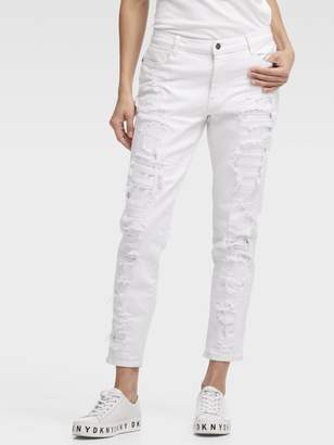 DKNY The Bowery Boyfriend Jean - White Deconstructed