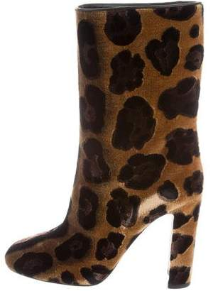 Dolce & Gabbana Velvet Leopard Ankle Boots w/ Tags