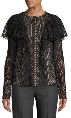 Lanvin Haut Perforated Ruffled Top