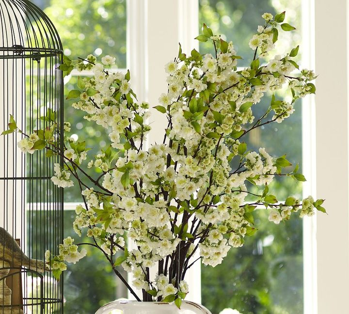 Faux White Cherry Blossom Branch