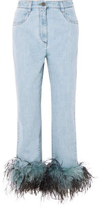 Prada Feather-trimmed Boyfriend Jeans - Mid denim