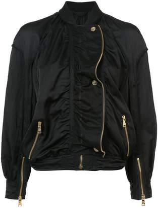Roberto Cavalli gold-tone zip detailed bomber jacket