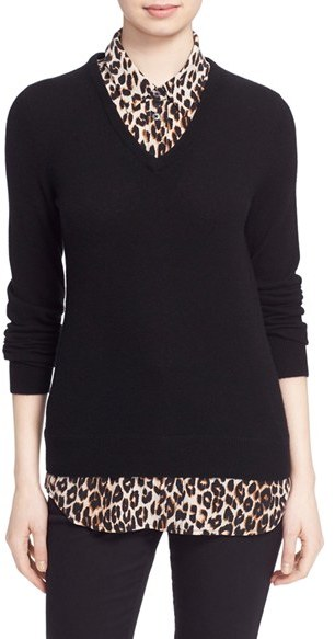 EquipmentWomen's Equipment 'Cecil' Layer Look Wool & Cashmere Sweater