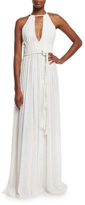Alice + Olivia Nomi Sleeveless Pleated Maxi Dress, White $440 thestylecure.com