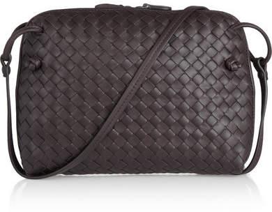 Bottega Veneta - Messenger Small Intrecciato Leather Shoulder Bag - Dark brown