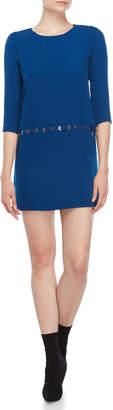 Atos Lombardini Blue Grommet Trim Mini Dress