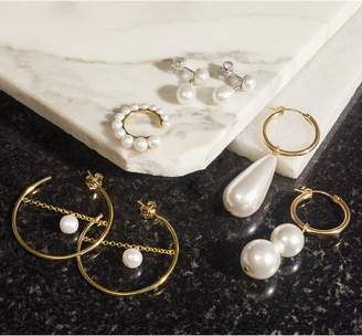 Swarovski BECK JEWELS Arcilla Mismatched Imitation Pearl Hoop Earrings
