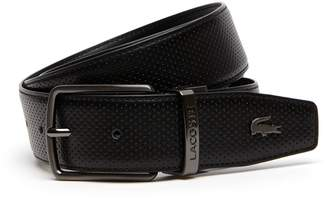 Lacoste Men's Engraved Buckle Reversible Punched Leather Belt