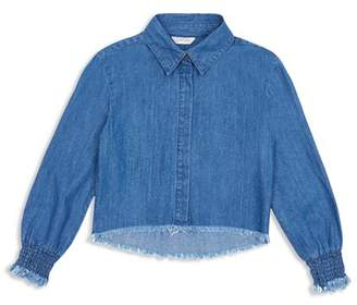 Habitual Girls' Ashley Smocked-Cuff Chambray Shirt - Big Kid