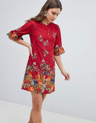 Yumi Frill Sleeve Shift Dress in Floral Border Print