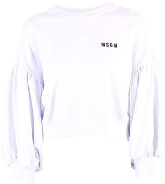 MSGM White Cropped Sweatshirt