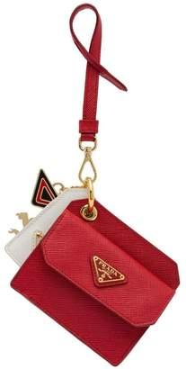 Prada Saffiano leather keychain trick with charm
