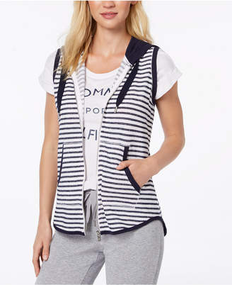 Tommy Hilfiger Striped French Terry Hooded Vest, Created for Macy's