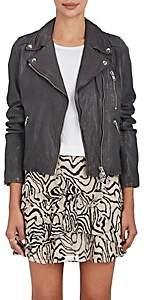 Barneys New York Women's Leather Moto Jacket - Charcoal