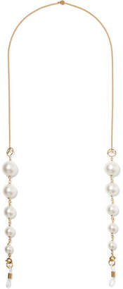 Fendi Gold-tone Faux Pearl Sunglasses Chain - Cream