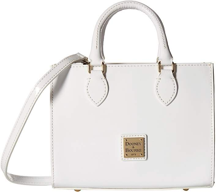 Dooney & Bourke Patent Mini Janine Satchel Satchel Handbags - WHITE/WHITE TRIM - STYLE