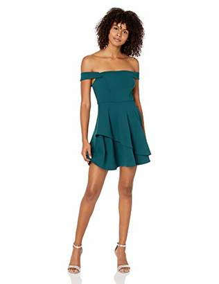 Speechless Junior's Teen Off The Shoulder Dress with Layered Skirt