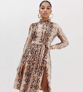 Missguided Petite shirt dress with side splits in snake